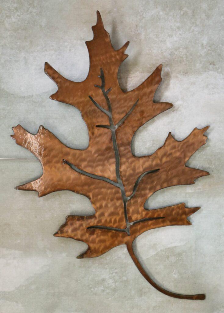 Wall Metal Art, Oak Tree Leaf, Copper, Leaf Veins, Stem