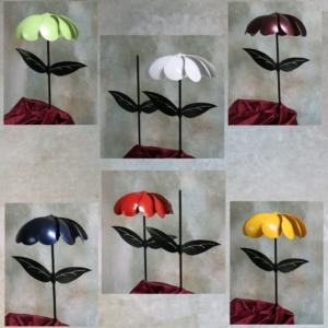 metal art, flower, colors, stem, leaves, kinetic, wind